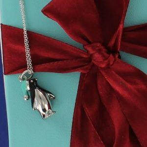 Tiffany Penguin Enamel Pendant Charm Necklace RARE